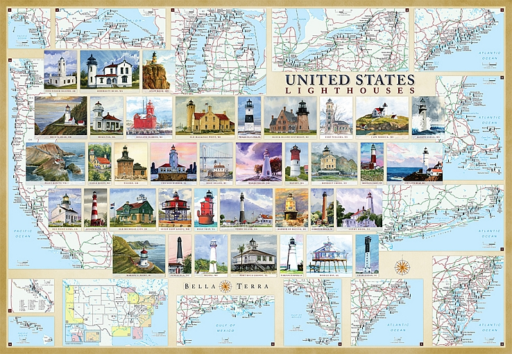 United States Lighthouses Illustrated Map Guide Bella Terra Maps - Pics of us map