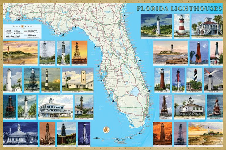Florida Lighthouses Map.Florida Lighthouses Illustrated Map Guide Bella Terra Maps