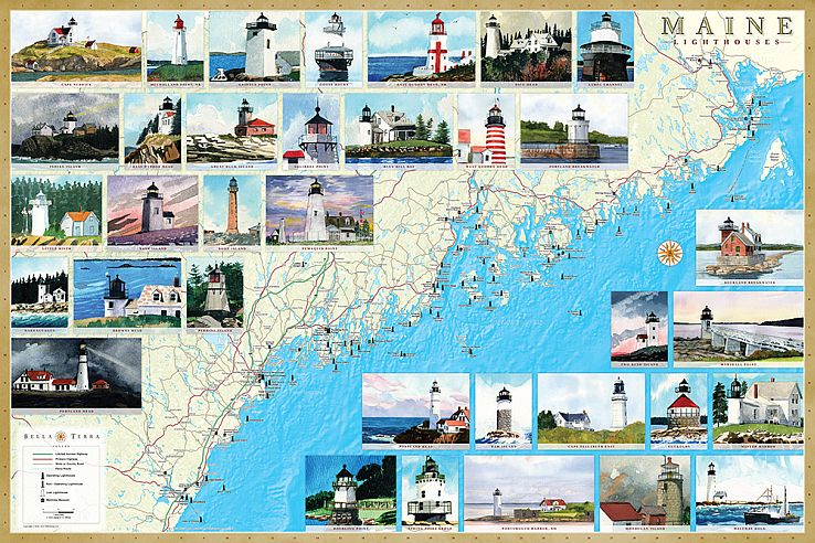Maine Lighthouse Map Maine Lighthouses Illustrated Map & Guide | Bella Terra Maps Maine Lighthouse Map